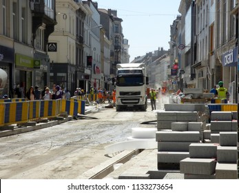 Brussels, Belgium - July 10th 2018: Road rehabilitation works on Chausse d`Ixelles in Ixelles, Brussels.