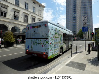 Brussels, Belgium - July 10th 2018: Electric bus on the newly created line 33 of STIB in Brussels .
