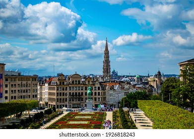 Brussels, Belgium - July 13, 2019: Cityscape of Brussels, Belgium, on a sunny summer day