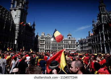 Brussels, Belgium. July 15, 2018.Belgian soccer team fans celebrate as the the team appeared on the balcony of the city hall after taking the third place in the World Cup 2018