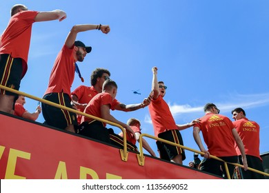 Brussels, Belgium. July 15, 2018.Belgian Red Devils football team pass on the open bus in the center of Brussels near the fans  and inhabitants after taking the third place in the World Cup 2018.
