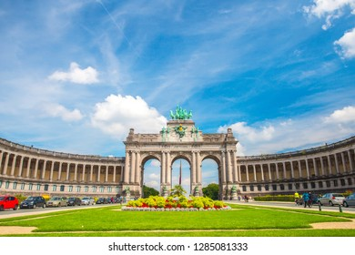 Brussels, Belgium - July 17, 2017: Brussels Triumphal Arch. Cinquantenaire park and arch on blue sky background. Sunny day in Brussels.