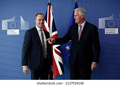 Brussels, Belgium. July 19, 2018. Britain's Secretary of State for Exiting the EU Dominic RAAB welcomed by EU Commission member in charge of Brexit negotiations with Britain, Michel Barnier.