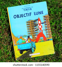 BRUSSELS, BELGIUM - JULY 2, 2018.: Tintin comic hero, comics book