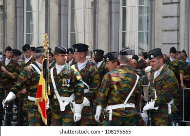 BRUSSELS, BELGIUM - JULY 21: military soldiers during national day parade July 21, 2012 in Brussels, Belgium.