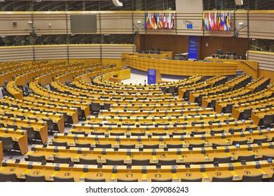 BRUSSELS, BELGIUM - JULY 24, 2014: The European Parliament hemicycle (debating chamber)