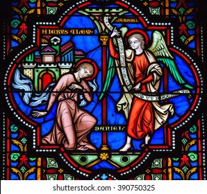 BRUSSELS, BELGIUM - JULY 26, 2012: Stained Glass window of the Prophet Daniel and the Archangel Gabriel in the Cathedral of Brussels, Belgium.