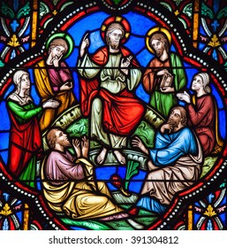 BRUSSELS, BELGIUM - JULY 26, 2012: Stained glass window depicting Jesus and the Sermon on the Mount in the cathedral of Brussels, Belgium