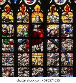 BRUSSELS, BELGIUM - JULY 26, 2012: Stained glass window (1528) depicting the Last Judgment, in the Cathedral of Brussels, Belgium.
