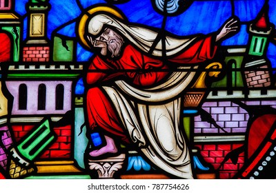 Brussels, Belgium - July 26, 2012: Stained Glass window of the prophet Jeremiah lamenting the destruction of Jerusalem in the Cathedral of Brussels, Belgium.