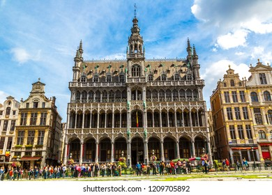 BRUSSELS, BELGIUM - JULY 6, 2014: The Grand Place in a beautiful summer day in Brussels, Belgium on July 6 2014