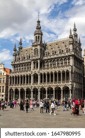 Brussels, BELGIUM - July 7, 2019: the Grand Place and the Maison du Roi, a neo-gothic style building from the XIXth century, which houses the Museum of the City of Brussels.