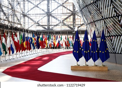 Brussels, Belgium Jun. 28, 2018. EU flags in EU Council building during the EU Summit.