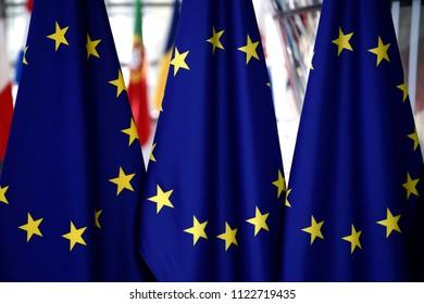 Brussels, Belgium Jun. 28, 2018. EU flags in EU Council building during the EU Summit.