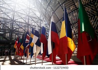 Brussels, Belgium Jun. 28, 2018. The Member States flags of the European Union in EU Council building during the EU Summit.