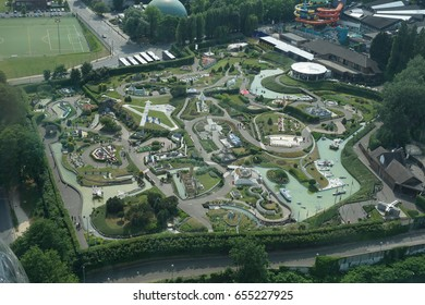 BRUSSELS, BELGIUM - JUNE 01, 2017:  Aerial view on Mini Europe, a miniature park located in Bruparck at the foot of the Atomium in Brussels, Belgium.