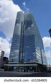 BRUSSELS, BELGIUM - JUNE 01, 2017: Belfius Tower, Bank and Insurance, known as Dexia Bank Belgium, in Brussels, Belgium