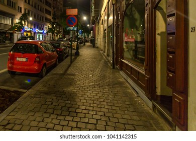 BRUSSELS, BELGIUM - JUNE 11, 2014: Evening street of Brussels, Belgium