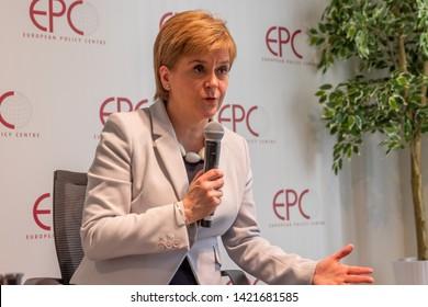 Brussels, Belgium - June 11, 2019: Nicola Sturgeon speaks at the European Policy Centre