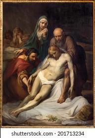 BRUSSELS, BELGIUM - JUNE 15, 2014: The Depositioin of the cross by Jean Baptiste van Eycken (1809 - 1853) in Notre Dame de la Chapelle