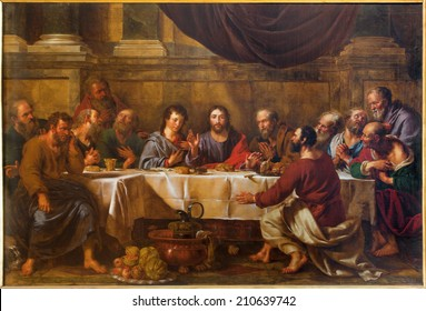 BRUSSELS, BELGIUM - JUNE 15, 2014: The Last supper of Christ by Guillaume Herreyns (1743 - 1827) in st. Nicholas church