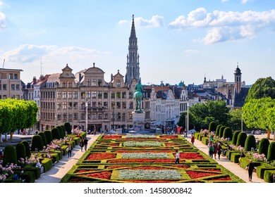 BRUSSELS, BELGIUM - JUNE 21, 2019: The Mont des Arts at sunset with people walking and exploring local beauties