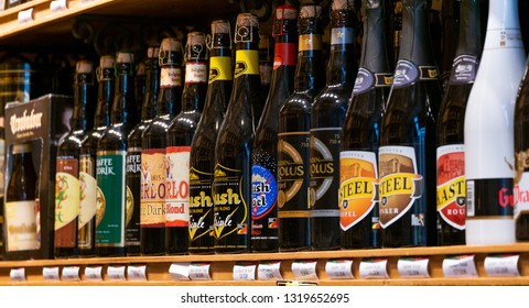 Brussels, Belgium - June 24, 2018 : A variety of traditional Belgian beer brands on shelf for selling.