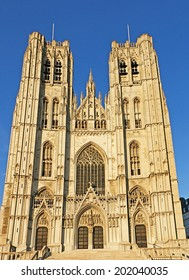 BRUSSELS, BELGIUM - JUNE 29, 2010: The Cathedral of St. Michael and St. Gudula is one of the notable landmarks, located on the Treurenberg Hill, on June 29 in Brussels.