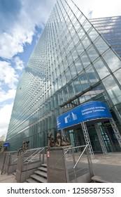 BRUSSELS, BELGIUM - June 3, 2013: Modern architecture of European Parliament building in Brussels, Belgium