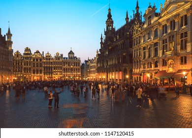 Brussels - Belgium, June 8, 2018 : Tourists visiting Grande Place, Grote Markt, Brussels, Belgium, Europe