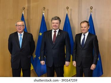 BRUSSELS, BELGIUM - Mar 17, 2016: President of Ukraine Petro Poroshenko, President of European Council Donald Tusk and European Commission President Jean-Claude Juncker during a meeting in Brussels