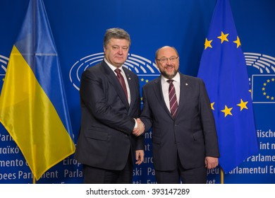 BRUSSELS, BELGIUM - Mar 17, 2016: President of Ukraine Petro Poroshenko and President of the European Parliament Martin Schulz during a meeting in Brussels