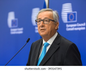 BRUSSELS, BELGIUM - Mar 17, 2016: European Commission President Jean-Claude Juncker during a joint press conference with President of Ukraine Petro Poroshenko in Brussels