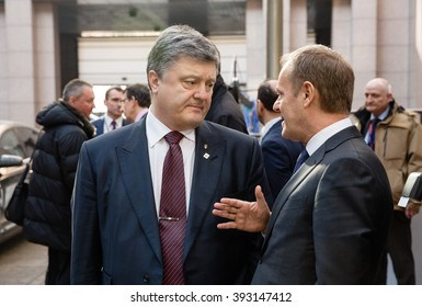 BRUSSELS, BELGIUM - Mar 17, 2016: President of Ukraine Petro Poroshenko and President of the European Council Donald Tusk during a meeting in Brussels
