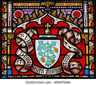 BRUSSELS, BELGIUM - MARCH 13, 2017: Stained Glass in the Church of Our Blessed Lady of the Sablon in Brussels, Belgium, depicting a Coat of Arms of a noble family from Brussels