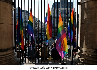 Brussels, Belgium March 20, 2017. Flag of Rainbow during a protest of Members from LGBT community and activists against the detention of gay men in concentration camps in Chechnya.