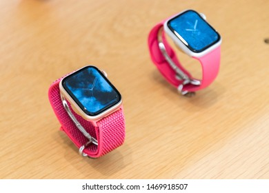 Brussels, Belgium - March 2019: Apple Watch Series 4. Smartwatch with pink strap