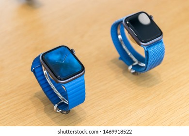 Brussels, Belgium - March 2019: Apple Watch Series 4. Smartwatch with blue strap
