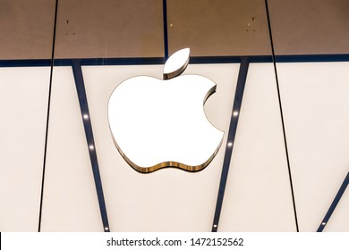 Brussels, Belgium - March 2019: Apple logo in glass taken in front of an Apple Store