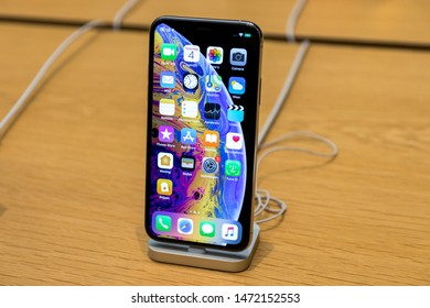 Brussels, Belgium - March 2019: iPhone XS on Apple Store