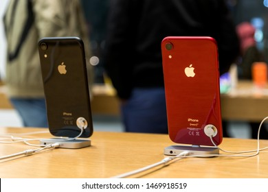Brussels, Belgium - March 2019: Rear of iPhone XS and XS Max on the Apple Store of the city