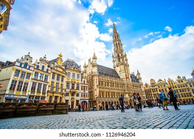 Brussels, Belgium - March 21, 2018 - Brussels Town Hall in Grand Place (Grote Markt), the most beautiful central square in Europe, UNESCO World Heritage Site since 1998
