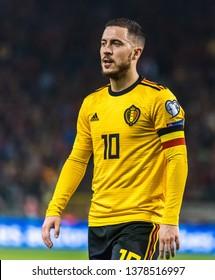 Brussels, Belgium - March 21, 2019. Belgium national football team captain Eden Hazard during UEFA Euro 2020 qualification match Belgium vs Russia in Brussels.