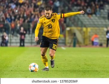 Brussels, Belgium - March 21, 2019. Belgium national team captain Eden Hazard performing a penalty kick during UEFA Euro 2020 qualification match Belgium vs Russia in Brussels.