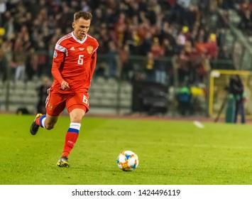 Brussels, Belgium - March 21, 2019. Russia national football team winger Denis Cheryshev during UEFA Euro 2020 qualification match Belgium vs Russia in Brussels.