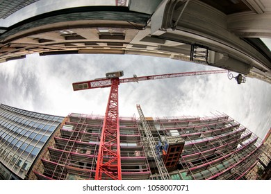 BRUSSELS, BELGIUM - MARCH 30, 2018: Construction site of a building photographed with the fish-eye