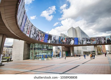 BRUSSELS, BELGIUM - MARCH 31, 2018: Luxembourg railway station on the esplanade of the European Parliament in Brussels