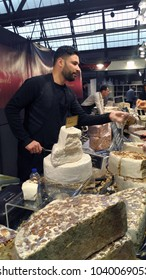 Brussels, Belgium - March 4 2018: Marzipan at Belgian Chocolate Fair 2018