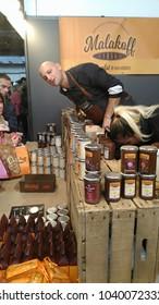 Brussels, Belgium - March 4 2018: Chocolate pate samples at Belgian Chocolate Fair 2018