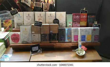 Brussels, Belgium - March 4 2018: Chocolate samples at Belgian Chocolate Fair 2018